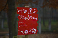 Information signs at the zoo. Estonia, Tallin Stock Photo