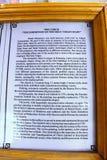 Information of Sinaia Monastery. Sinaia, Romania - 2013: Information of Sinaia Monastery royalty free stock image