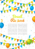 Information sport flyer. Background with balloons and with a garland from colors of Rio de Janeiro, Welcome to Brazil Rio 2016. Vector template of poster for Royalty Free Stock Photo