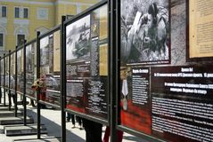 Information stands with war stories put on Theater Square in Moscow. Royalty Free Stock Photography