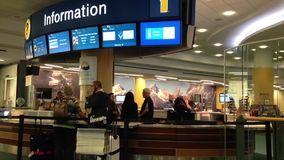 Information station inside YVR airport stock footage