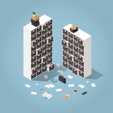 Information Storage Isometric Illustration. Vector isometric file storage concept illustration. Two big storage cabinets with drawers with papers, folders Stock Photography