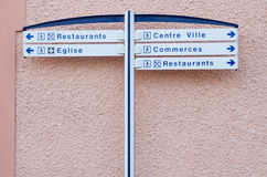Information street sign in european town Royalty Free Stock Photos