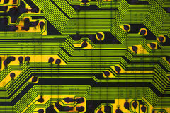 Information Superhighway. Backlight Circuit board showing wire lines Royalty Free Stock Photography
