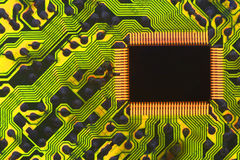 Information Superhighway Circuit. Backlight Circuit board with Computer Chip Royalty Free Stock Photography
