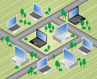 Information superhiway. Illustration of computers connected by highways Stock Image