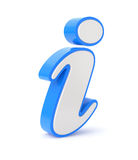 Information symbol. Blue information symbol - 3D illustration over white background Stock Image