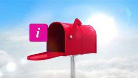 Information symbol in the mailbox on cloudy background stock video