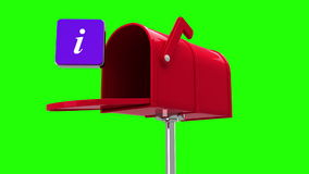Information symbol in the mailbox on green background stock video footage