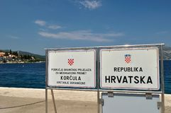 Information table in port of Korcula. Republika Hrvatska, Croatia Stock Photos