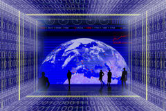 Information technologies. And global business scene. Binary code tunnel and people silhouettes Stock Photos