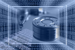 Information technologies. Background with binary code tunnel and data stream Stock Photo
