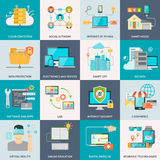 Information Technologies Concept Flat Icons. With electronic devices software and internet isolated illustration royalty free illustration