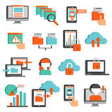Information Technologies Flat Icons Set. With padlock cloud storage smartphone laptop online operator isolated vector illustration royalty free illustration
