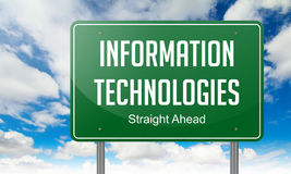Information Technologies on Green Highway. Highway Signpost with Information Technologies wording on Sky Background Stock Image