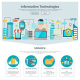 Information Technologies One Page Website. With digital equipment software internet services vector illustration vector illustration