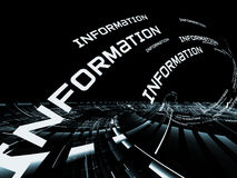 Information Technology Abstract. Interplay of words and forms in three dimensional space on the subject of Internet, information technologies, communications and Royalty Free Stock Photos