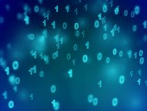 Information technology abstract background. Secure digital information transfer. Information technology abstract background. Binary code flowing in cyberspace royalty free illustration