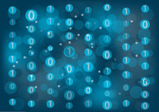 Information technology background with zeros and ones floating around to represent binary messages. Stock Photography