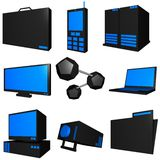 Information Technology Busines. S icons and symbol set series - black blue Stock Photo