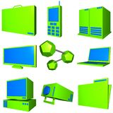 Information Technology Business Industry Icons Set. Information technology business icons and symbol set series - Blue Green Stock Images