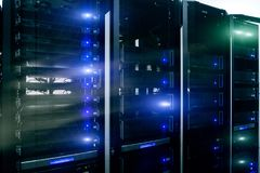Information Technology Computer Network, internet telecommunication technology, big data storage, cloud computing computer service. Business concept: server stock image