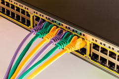 Information Technology Computer Network, Telecommunication. Ethernet Cables Connected to a Switch, Data Center Concept stock photography