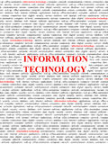 Information technology concept. A lot of topics about information technology (words in red) - concept background Stock Image