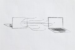 Laptops facing each other with network connection lines in between them. Information technology conceptual illustration: laptops facing each other with network vector illustration