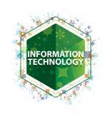 Information Technology floral plants pattern green hexagon button stock illustration