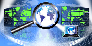 Information Technology Fraud Investigation. An image for the concept of Secure Global Information Technology or fraud investigation. This computer generated Stock Photo
