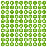 100 information technology icons hexagon green. 100 information technology icons set in green hexagon isolated vector illustration Stock Photo