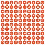 100 information technology icons hexagon orange. 100 information technology icons set in orange hexagon isolated vector illustration vector illustration
