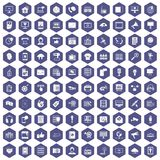 100 information technology icons hexagon purple Royalty Free Stock Photo