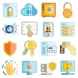 Information technology icons, security system icons. Set of 16 information technology icons, security system icons on white background Royalty Free Stock Images