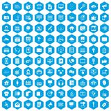 100 information technology icons set blue. 100 information technology icons set in blue hexagon isolated vector illustration royalty free illustration