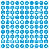100 information technology icons set blue. 100 information technology icons set in blue hexagon isolated vector illustration Royalty Free Illustration