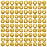 100 information technology icons set gold. 100 information technology icons set in gold circle isolated on white vectr illustration royalty free illustration