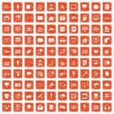 100 information technology icons set grunge orange. 100 information technology icons set in grunge style orange color isolated on white background vector Royalty Free Stock Photos