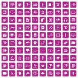 100 information technology icons set grunge pink. 100 information technology icons set in grunge style pink color isolated on white background vector Royalty Free Stock Photo