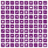 100 information technology icons set grunge purple. 100 information technology icons set in grunge style purple color isolated on white background vector vector illustration