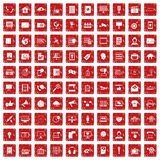 100 information technology icons set grunge red. 100 information technology icons set in grunge style red color isolated on white background vector illustration Stock Image