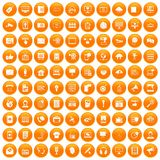 100 information technology icons set orange. 100 information technology icons set in orange circle isolated vector illustration stock illustration
