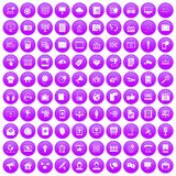 100 information technology icons set purple. 100 information technology icons set in purple circle isolated vector illustration Royalty Free Stock Photo
