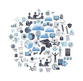 Information Technology related icon set stock illustration