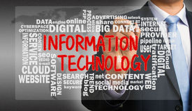 Information technology with related word cloud handwritten by bu Royalty Free Stock Images
