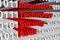 Information technology security audit. In the form of binary code, 3D illustration Royalty Free Stock Photography