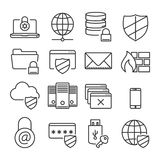 Information technology security icons. Plain line Royalty Free Stock Photo