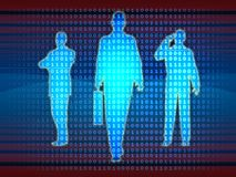 Information technology team. Businessman silhouettes emerge from a binary data stream. Digital illustration Royalty Free Stock Photo