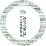 Information Technology Word Cloud Text Illustration in shape of a Circle. Royalty Free Stock Photo
